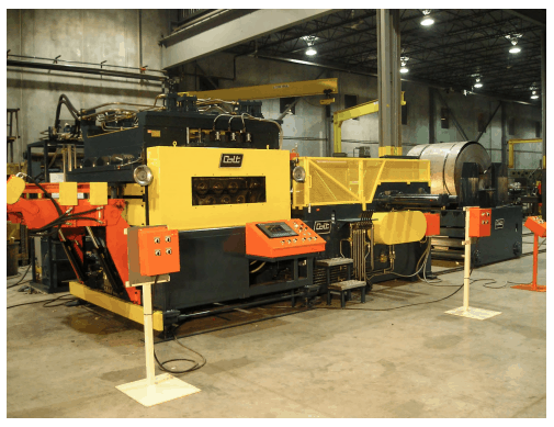 Heavy-Duty Cradle Feeder/Straightener With Extended Travel Coil Storage Ramp