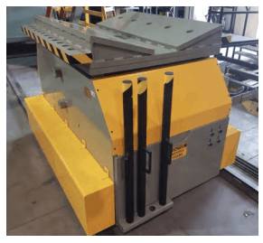 Colt Automation traveling coil car with automated coil nesting for steel coil material in AHSS, Gen 3, HSLA, High Strength Steel, Class A, Aluminum, Mild Steel, Cold-rolled metal coil, hot-rolled steel coil, alloy steel, galvanized