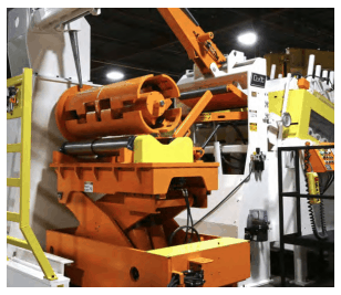 COLT Traveling Scissor Lift Coil Car for extended reach, equipped with powered nest rolls